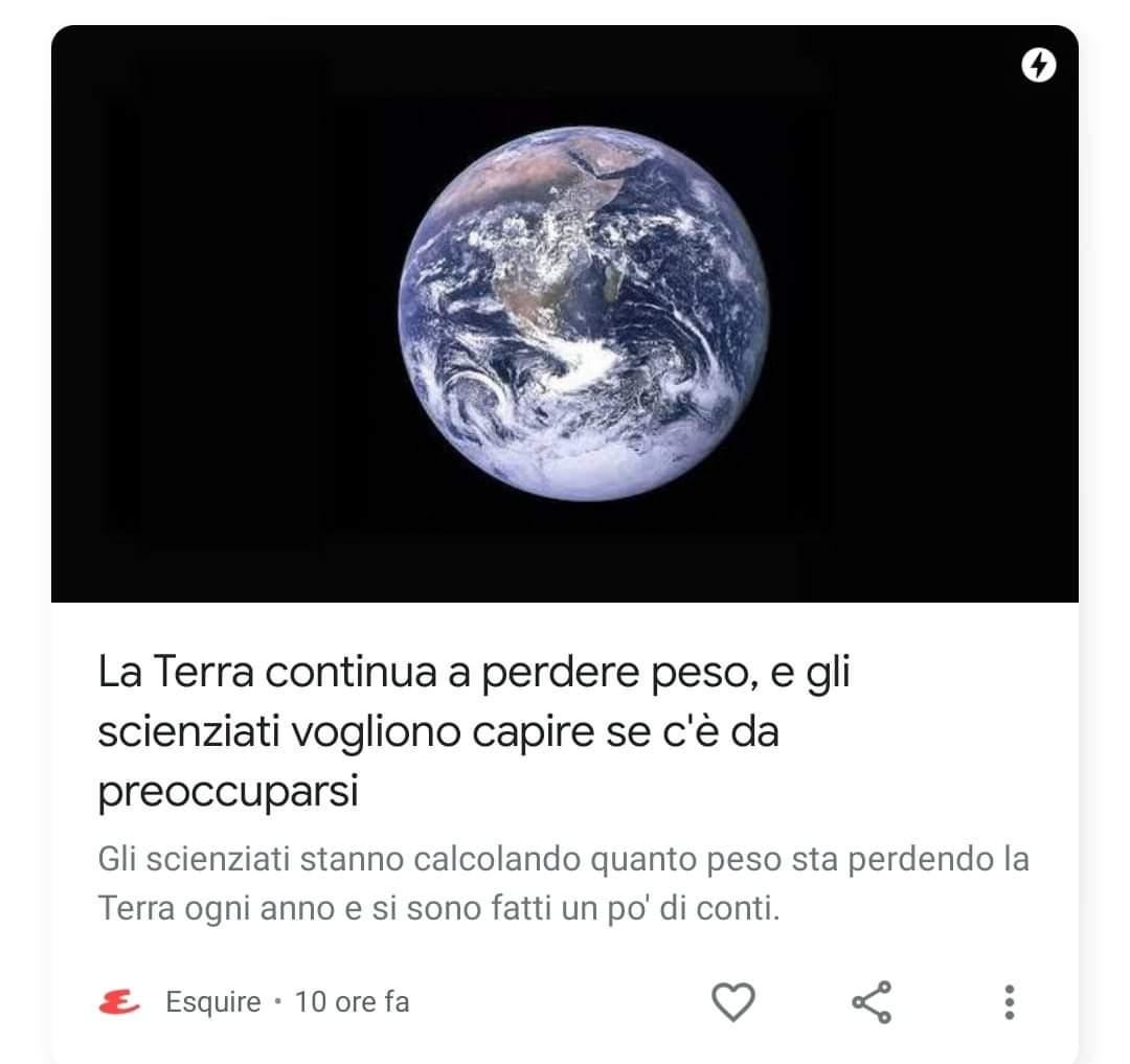 La Terra continua a perdere peso