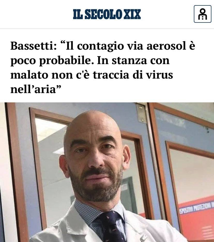 """Bassetti: """"Il contagio via aerosol è poco probabile. In stanza con malato non c'è traccia di virus nell'aria"""""""" - La trama si infittisce..."""