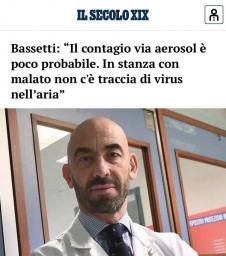 """Bassetti: """"Il contagio via aerosol è poco probabile. In stanza con malato non c'è traccia di virus nell'aria"""""""""""